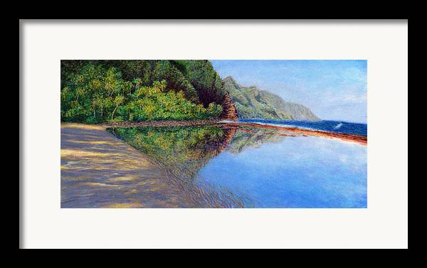 Rainbow Colors Pastel Framed Print featuring the painting Ke'e Morning by Kenneth Grzesik
