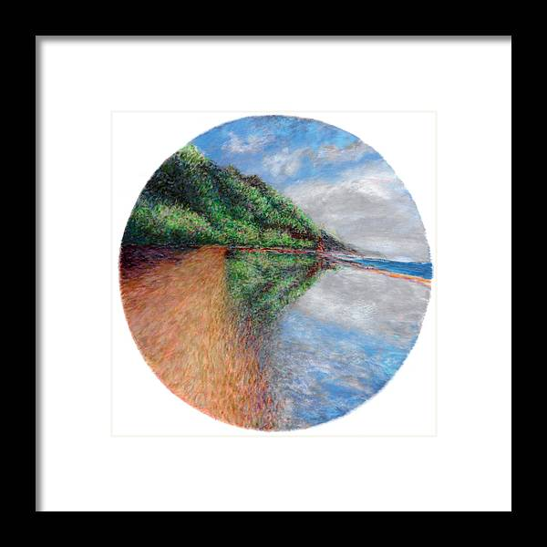 Rainbow Colors Pastel Framed Print featuring the painting Ke'e Tondo by Kenneth Grzesik