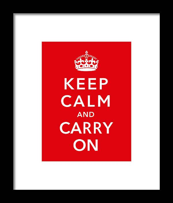 Britain Framed Print featuring the digital art Keep Calm And Carry On by War Is Hell Store