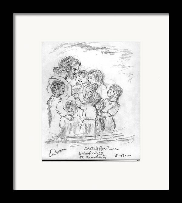 Sketch Jesus Chldren Religious Framed Print featuring the drawing Keep Not The Children From Me by Alfred P Verhoeven