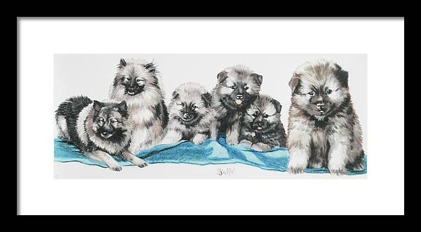 Non-sporting Framed Print featuring the mixed media Keeshond Puppies by Barbara Keith
