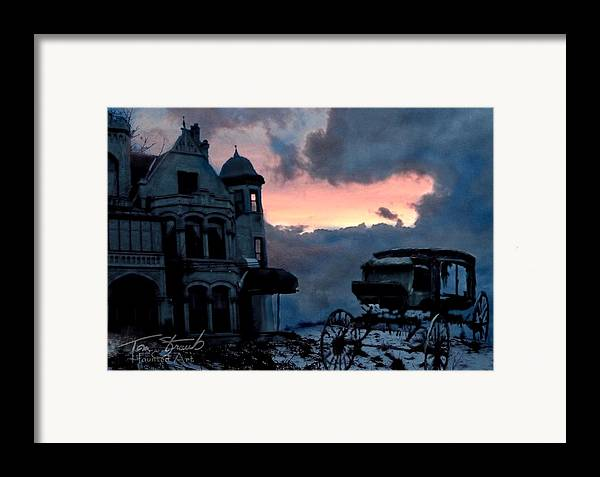 Haunted Mansion Framed Print featuring the digital art Keg And Carriage by Tom Straub
