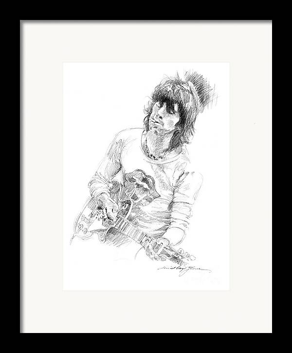 Keith Richards Framed Print featuring the drawing Keith Richards Exile by David Lloyd Glover