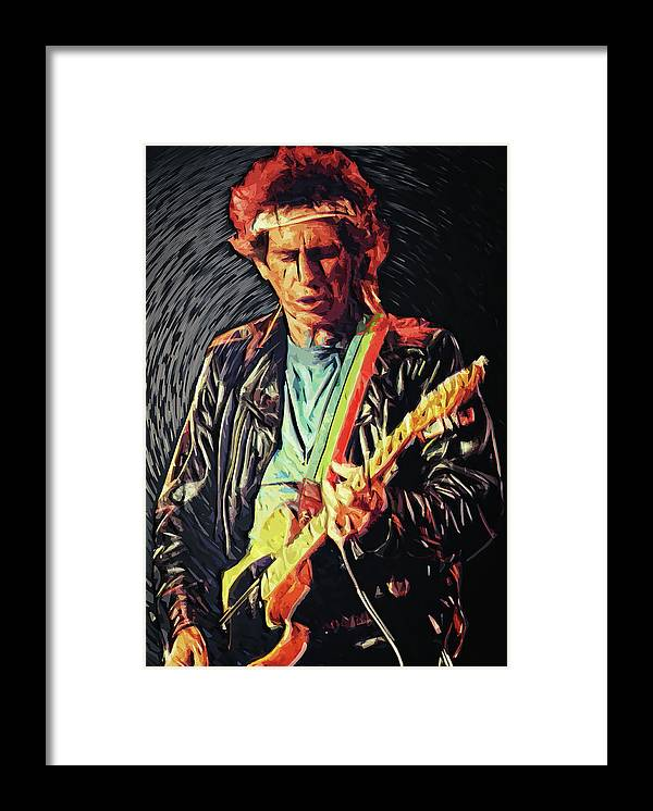 Keith Richards Framed Print featuring the digital art Keith Richards by Zapista OU