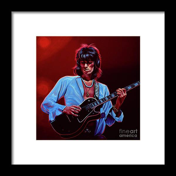Keith Richards Framed Print featuring the painting Keith Richards The Riffmaster by Paul Meijering