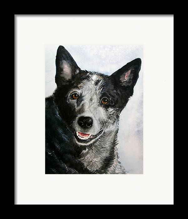Canine Framed Print featuring the painting Kellie by Gina Hall