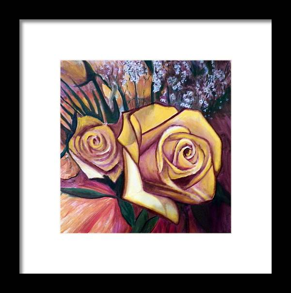 Flowers; Roses; Still Life. Framed Print featuring the painting Yellow Roses by John Gabb