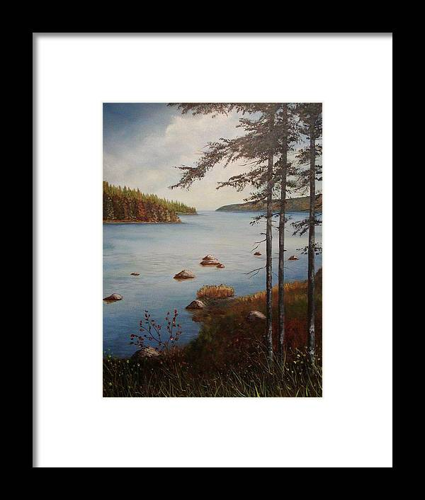 Tamarak Trees Framed Print featuring the painting Kellys Mountain by Sharon Steinhaus