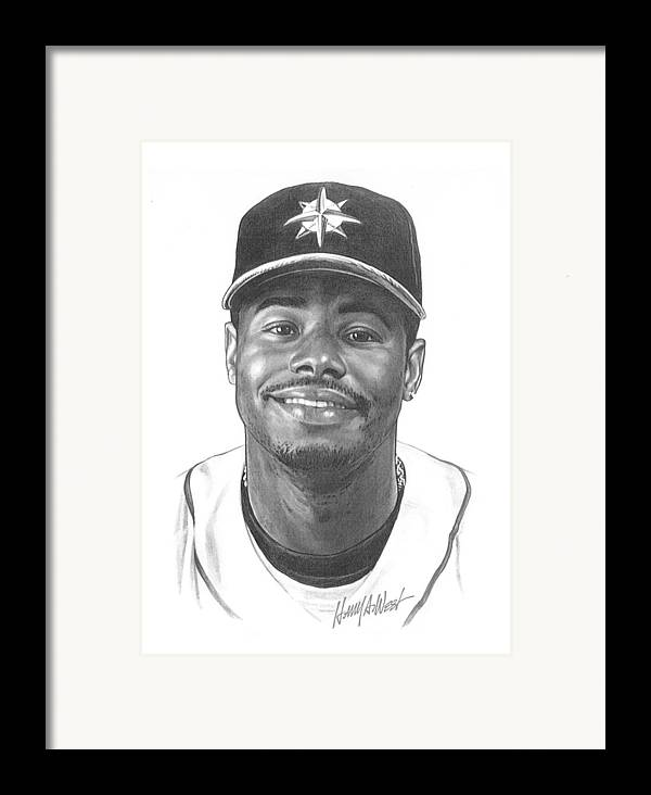 Ken Griffy Framed Print featuring the drawing Ken Griffey Jr by Harry West