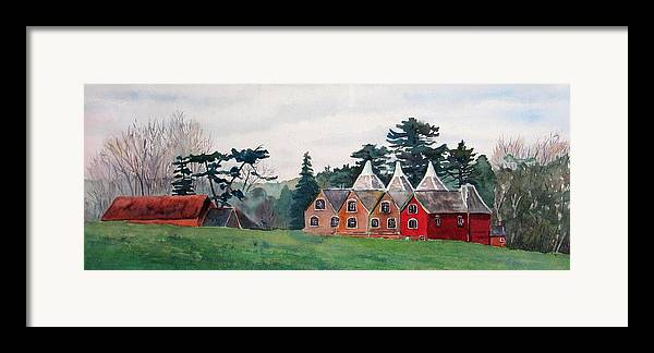 Oast House Framed Print featuring the painting Kent Country Houses by Debbie Homewood
