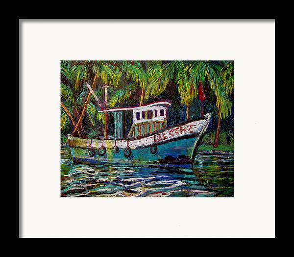 Kerala Framed Print featuring the painting Kerala Fishing Boat by Art Nomad Sandra Hansen