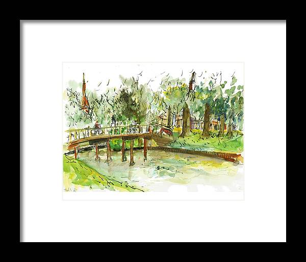 Zwolle Framed Print featuring the painting Kerekbrugje by Tali Farchi