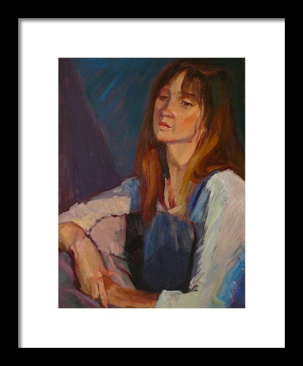 Pensive Girl Framed Print featuring the painting sold Kerri by Irena Jablonski