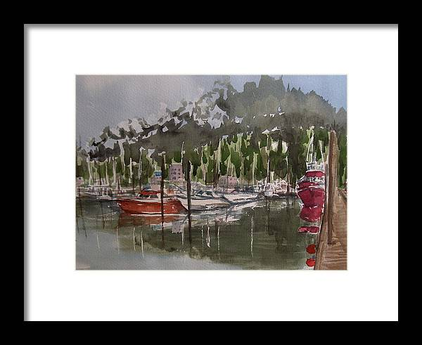Marina Framed Print featuring the painting Ketchican Marina by Pete Maier