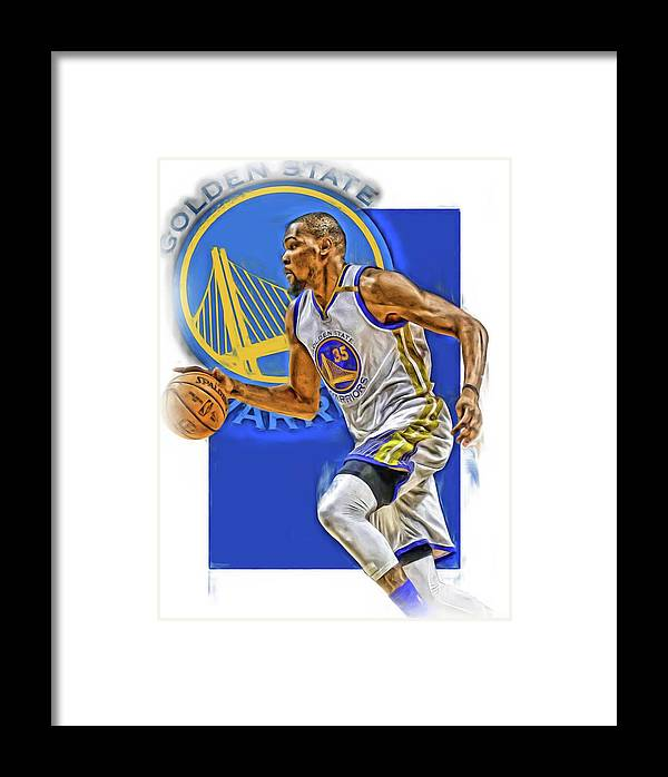 Kevin Durant Framed Print featuring the mixed media Kevin Durant Golden State Warriors Oil Art by Joe Hamilton