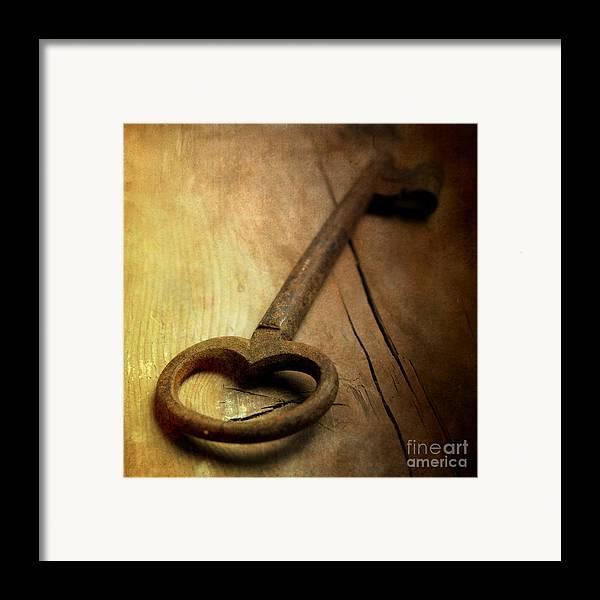 Studio Shot Framed Print featuring the photograph Key by Bernard Jaubert