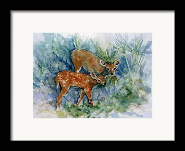 Deer Framed Print featuring the painting Key Deer by Ruth Mabee