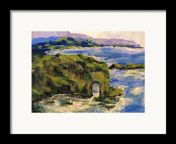 Ocean Framed Print featuring the painting Key Hole Arch Bright Sun by Randy Sprout