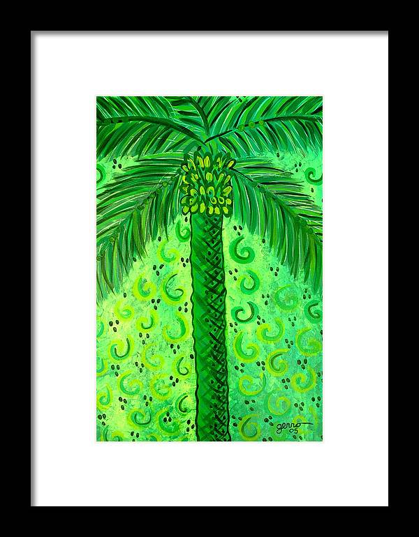 Palm Trees Framed Print featuring the painting Key Lime Palm by Helen Gerro