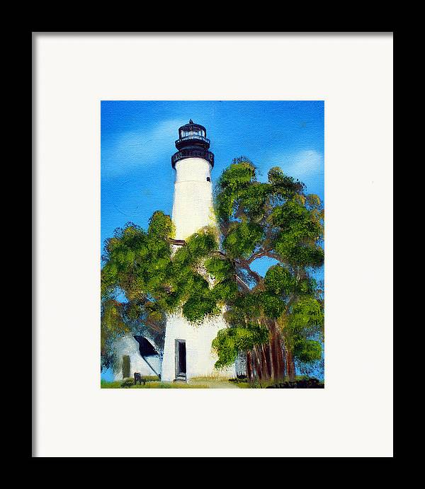 Lighthouse Framed Print featuring the painting Key West Lighthouse by Darlene Green