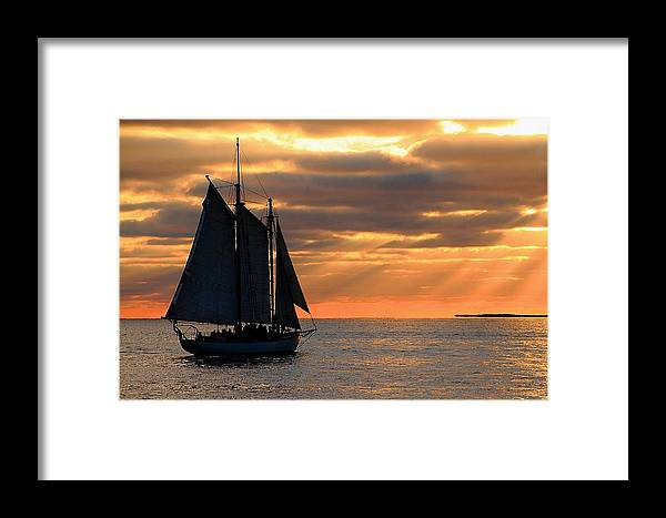Water Framed Print featuring the photograph Key West Sunset Sail 6 by Bob Slitzan