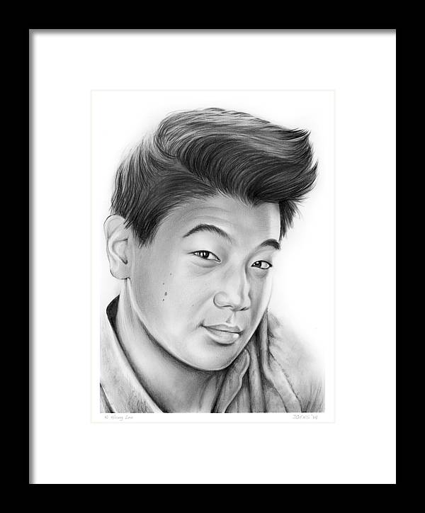 Ki Hong Lee Framed Print featuring the drawing Ki Hong Lee by Greg Joens