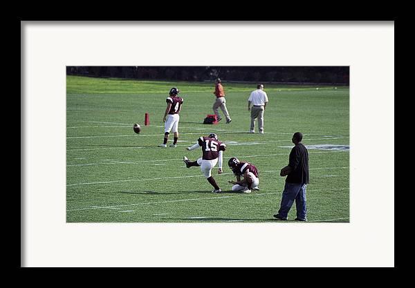 Football Framed Print featuring the photograph Kicker by Wes Shinn