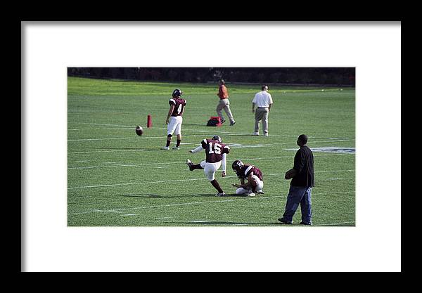 Football Framed Print featuring the photograph Kicker by Wes Shinn