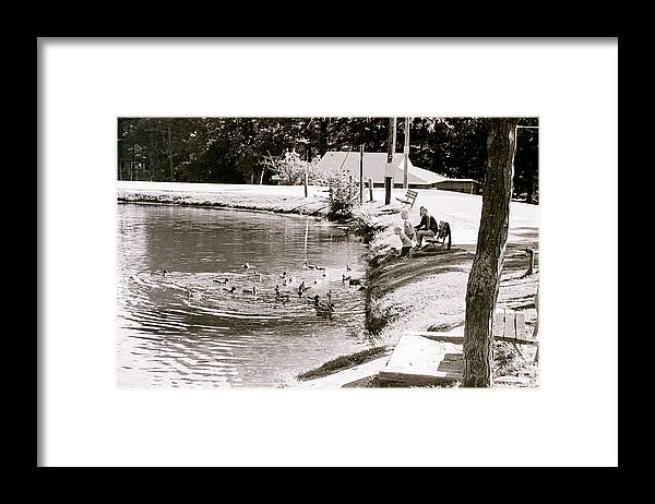 Ducks Framed Print featuring the photograph Kids N Ducks by Jeff Porter