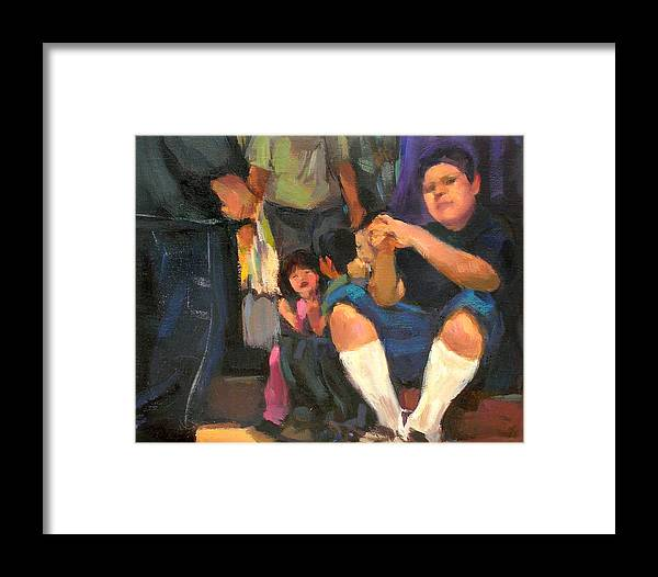 Figurative Framed Print featuring the painting Kids On The Street by Merle Keller