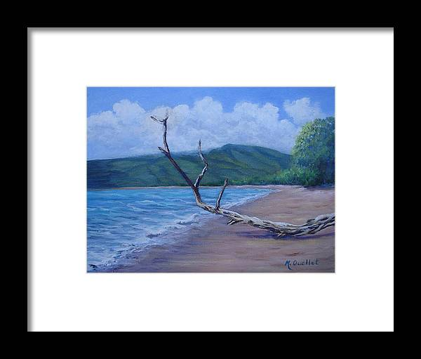 Landscape Framed Print featuring the painting Kihei Beach Tree by Maxine Ouellet
