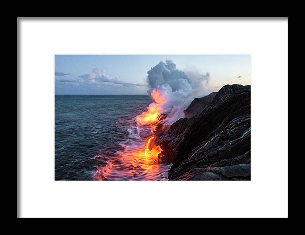 Kilauea Volcano Kalapana Lava Flow Sea Entry The Big Island Hawaii Hi Framed Print featuring the photograph Kilauea Volcano Lava Flow Sea Entry 3- The Big Island Hawaii by Brian Harig