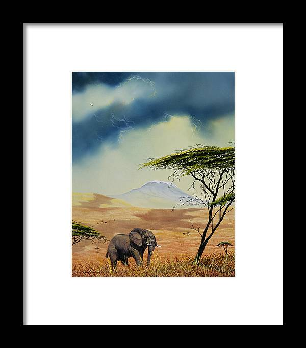 Landscape Framed Print featuring the painting Kilimanjaro Bull by Don Griffiths