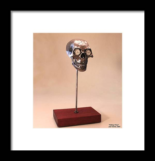 Steel Sculpture Framed Print featuring the sculpture Killing Time by Jud Turner