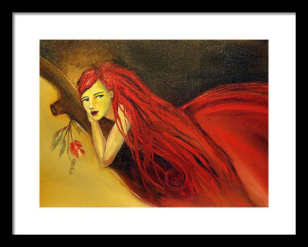 Girl Flower Framed Print featuring the painting Killing Time by Niki Sands