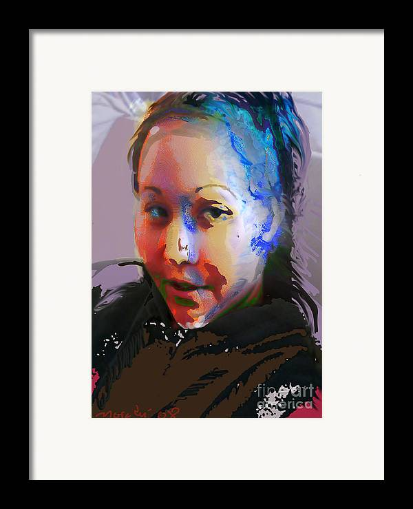 Portrait Framed Print featuring the mixed media Kime by Noredin Morgan