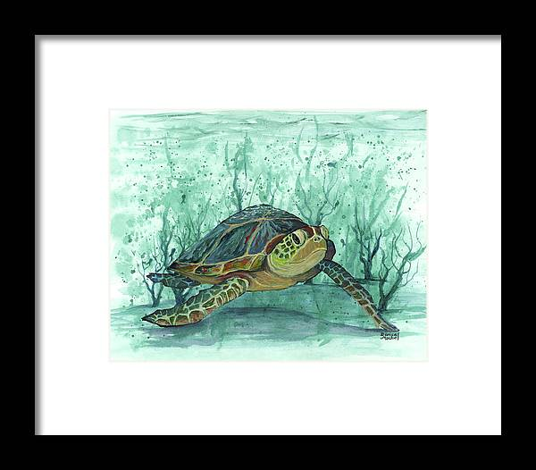 Darice Framed Print featuring the painting Kimo Under The Sea by Darice Machel McGuire