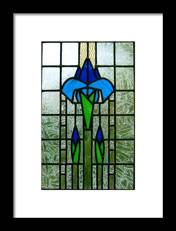 Stained Glass Framed Print featuring the glass art Kims Window by Alan Carlson