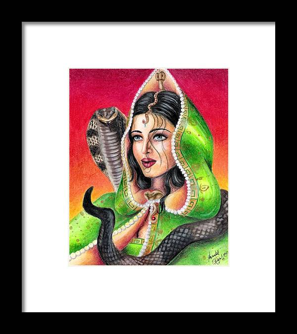 Woman Framed Print featuring the drawing King Cobra by Scarlett Royal
