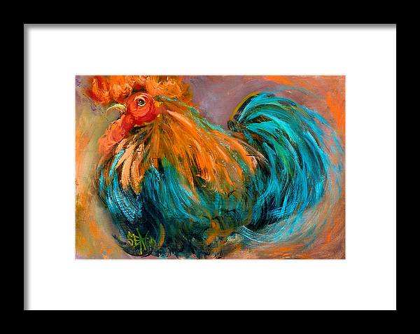 Rooster Framed Print featuring the painting King Henry by Sally Seago
