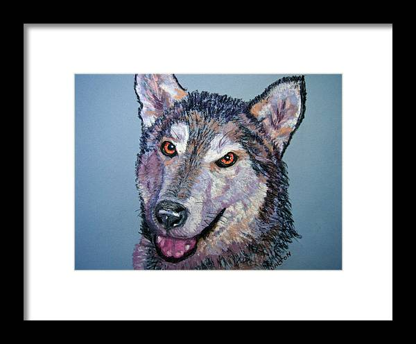 Alaskan Malamute Framed Print featuring the painting King by Judy Fischer Walton