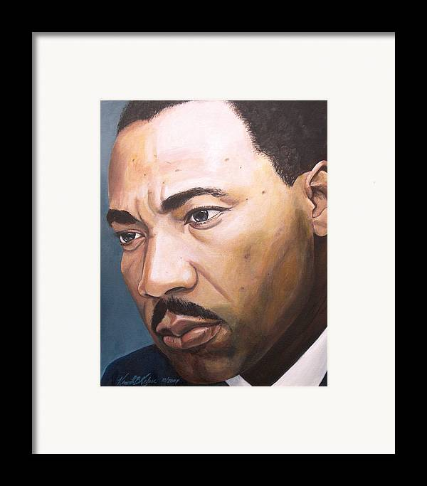 Portrait Framed Print featuring the painting King by Kenneth Kelsoe