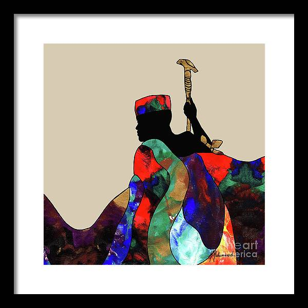 King Framed Print featuring the painting King by Marcella Muhammad