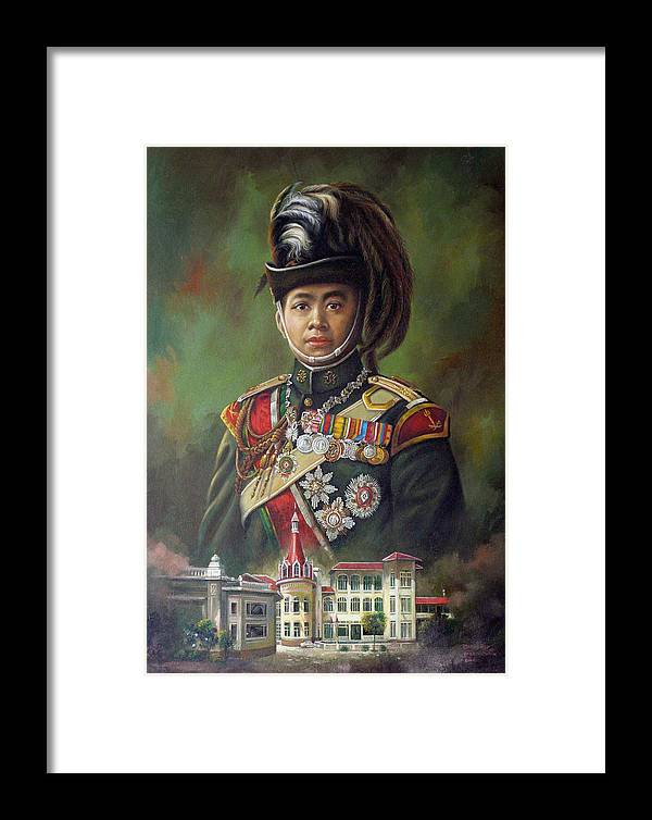 Oil Framed Print featuring the painting King Mongkut by Chonkhet Phanwichien