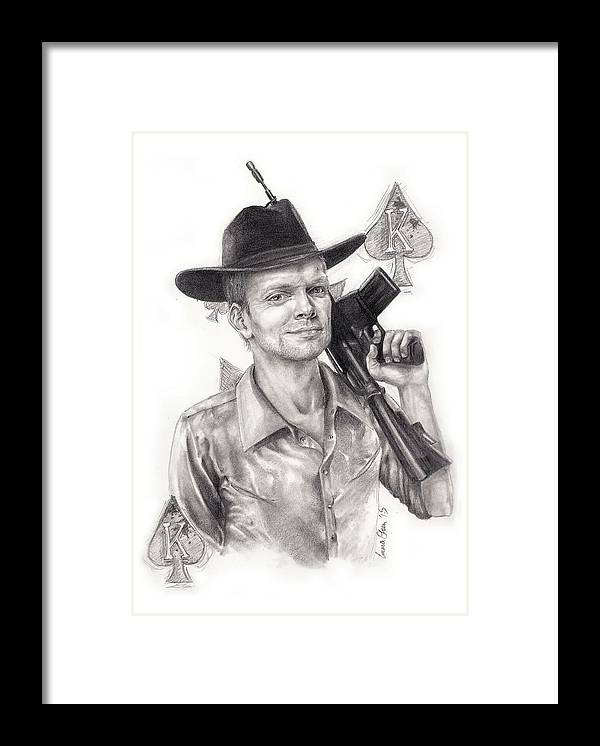 Man Framed Print featuring the drawing King Of Clubs by Emma Olsen