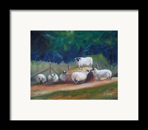 Sheep Framed Print featuring the painting King Of Green Hill Farm by Donna Tuten
