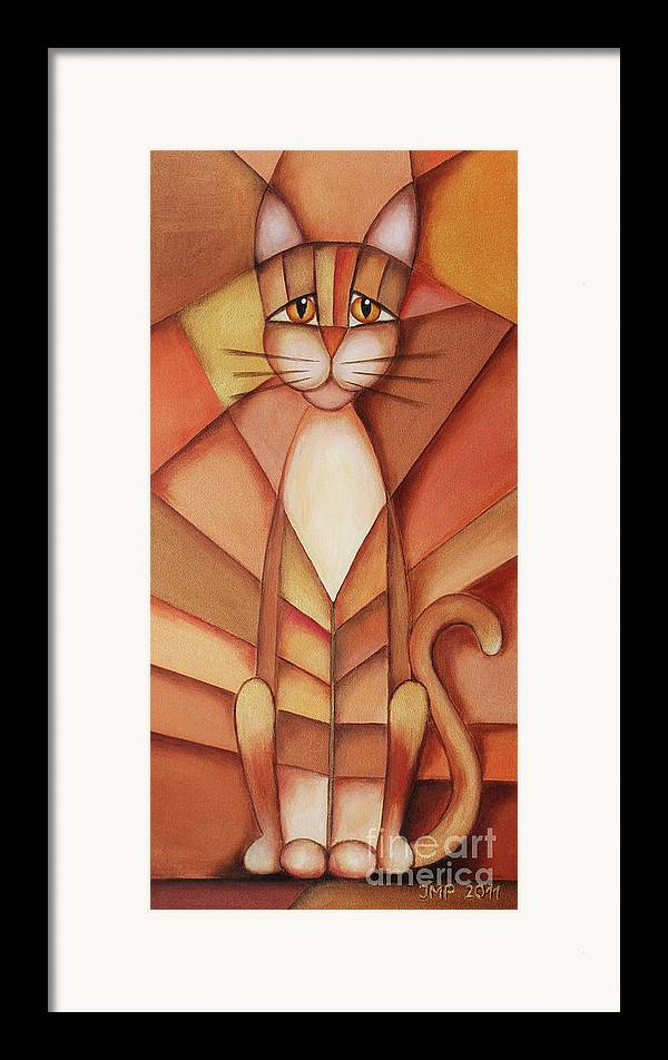 Paint Framed Print featuring the painting King Of The Cats by Jutta Maria Pusl