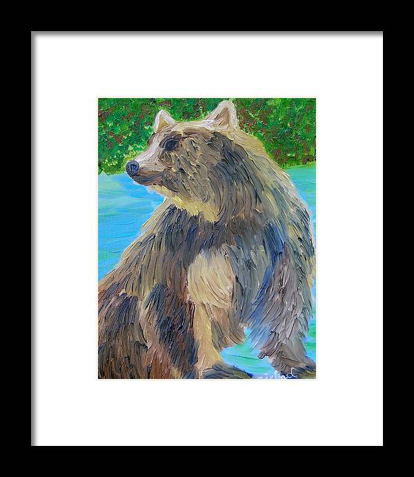 Bear Framed Print featuring the painting King Of The Stream by Michael Lee