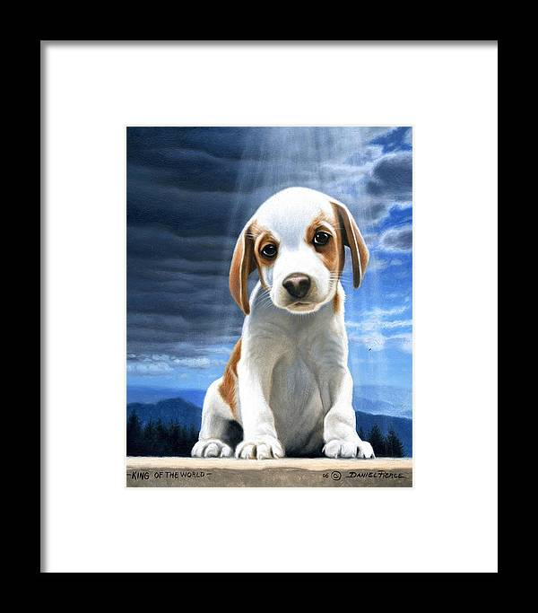 Dog Beagle Puppy Sunray Painting Original Blue Sky Framed Print featuring the painting King Of The World-beagle Puppy by Daniel Pierce