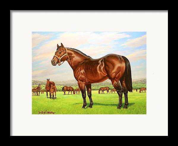 Quarter Horse Framed Print featuring the painting King P-234 No.two by Howard Dubois